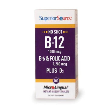 Superior Source - No Shot B12 B6 Folic Acid Plus D3 Instant Dissolve Micro-Tablets - 100 Tablets