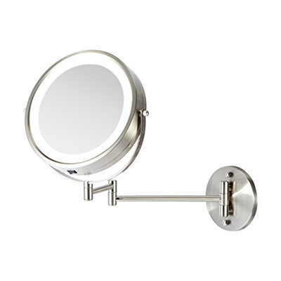 Ovente MFW85BR 8.5 inch Battery Operated LED Lighted Wallmount Vanity Makeup Mirror