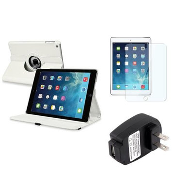 Insten INSTEN White 360 Leather Stand Case Cover+Guard+AC Charger For Apple iPad Air 5 5th Gen