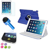 Insten INSTEN Blue Cute 360 Leather Case Cover+Matte Protector/Sticker For Apple iPad Air 5 5th Gen
