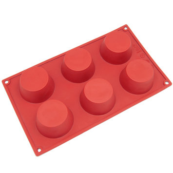 Freshware 6-Cavity Silicone Cheesecake, Pudding and Muffin Mold - Red