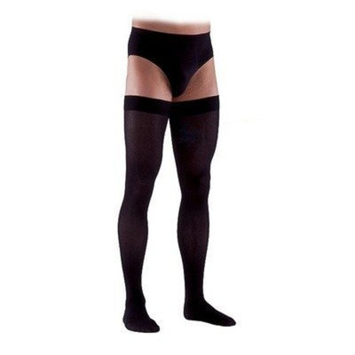 Sigvaris 230 Cotton Series 30-40 mmHg Men's Closed Toe Thigh High Sock Size: Small Long, Color: Black 99