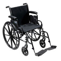 Drive Medical Cruiser III Lightweight Wheelchair w Flip Back Removable Full Arms and Foot Rest, 18 Inch, 1 ea