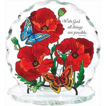 Joan Baker Designs 108875 Candle Plaque Poppy Gardens With God All Things 5.75 x 6.25 x 3.75