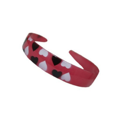 Caravan Red Medium Headband Hand Painted With Black And White Hearts