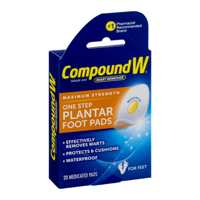 Compound W Wart Remover One Step Plantar Foot Pads - 20 CT