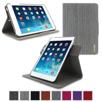 iPad Mini Case, roocase Orb System Folio 360 Dual View Leather Rotating Case Smart Cover for iPad Mini 3 (2014) - Compatible with Mini 1 / 2, Canvas Gray - Patented Complete Lifestyle Solution