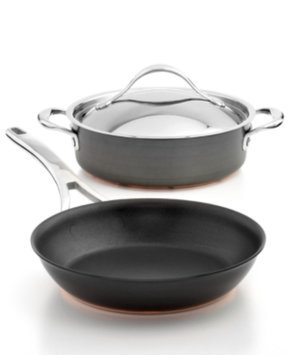 Anolon 3-pc. Black Covered Sauteuse and Skillet Cookware Set