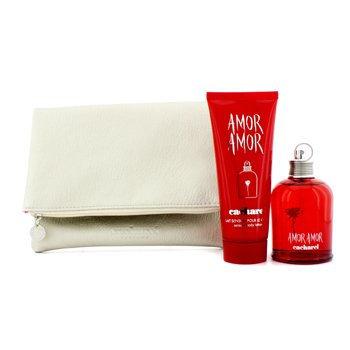 Cacharel Amor for Women 3 Piece Gift Set (3.4 Ounce Eau de Toilette Spray Plus 3.4 Ounce Body Lotion Plus Clutch)