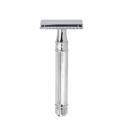 Edwin Jagger DE89Lbl Lined Detail Chrome Plated Double Edge Safety Razor