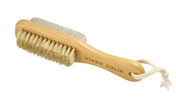 Pumice Stone Callus Remover Foot Brush - Exfoliate & Deeply Cleanse your Feet - 7 Inch Small Travel Size with Wooden Handle - Perfect Jetsetter Beauty Gift by Vivre Jolie