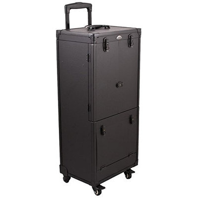Craft Accents 4-Wheels Rolling Aluminum Cosmetic Makeup Case