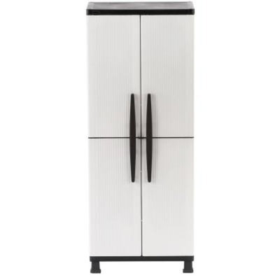 HDX 27 in. W 4-Shelf Plastic Multi-Purpose Tall Cabinet in Gray
