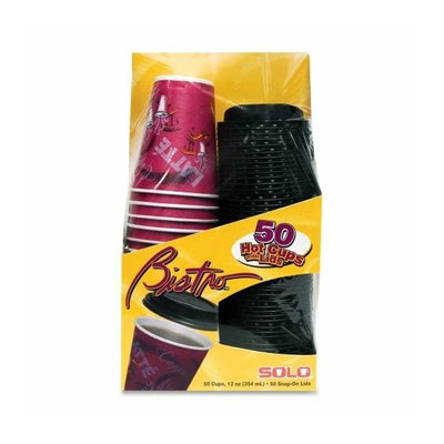 Solo Cup FSX120041 12 Oz. Bistro Cups with Lids - 50-Pack