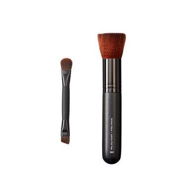 Makeover Vegan Love Duo Mini Eye and Jumbo Flat Top Brush