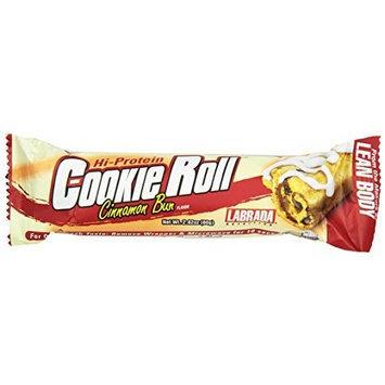 Labrada Nutrition Lean Body Cookie Roll Bar, Cinnamon Roll, 2.82 oz. (80g) Bars, 12-count
