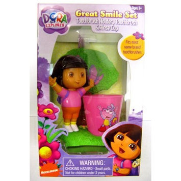 mzb Dora the Explorer Great Smile Toothbrush Gift 3 Pcs Set (Toothbrush Holder, Toothbrush, Rinse Cup)