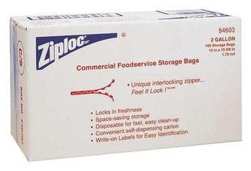 ZIPLOC 94603 Reclosable Bag,2 gal, Clear, Plastic, PK100