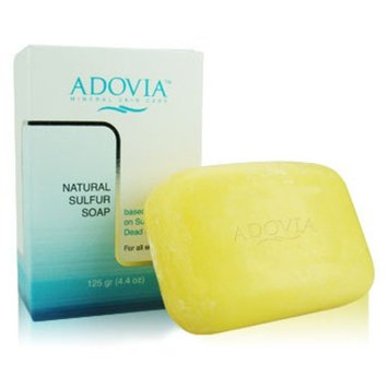 Adovia Sulfur Soap with Dead Sea Salt for Face & Body - All Natural & Fragrance FREE Sulphur Soap - with Natural Sulfur, Dead Sea Salt & Minerals - All Natural Face and Body Cleanser for Men & Women