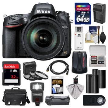 Nikon D610 Digital SLR Camera with 28-300mm VR AF-S Zoom Lens, Shoulder Bag & 32GB Card with 64GB Card + Flash + Grip + 2 Batteries & Charger + Filter Kit