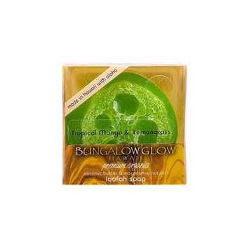 Bubble Shack Hawaii 856214003494 Bungalow Glow Premium Organics Coconut Butter Loofah Soap-Tropical Mango & Lemongrass
