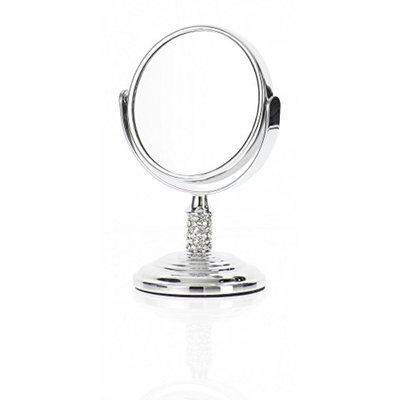 Danielle Mini Crystal Studded Stem Mirror with True Image and 4x Magnification