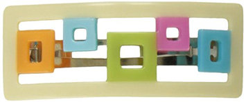 Caravan Puzzle Of Square Colored Boxes In An Open Cream Box Setting All Handmade Barrette