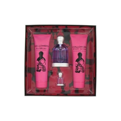 Halloween By Jesus Del Pozo For Women. Gift Set 4 Pcs ( Eau De Toilette Spray 3.3 Oz + Fruit Lotion 5.0 Oz +  Bubbles Shower Gel 5.0 Oz+ Miniature 4.5 Ml)