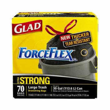 GLAD (70 per Carton) 30 Gallon Drawstring Force Flex Trash Bags in Black