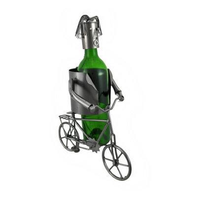 Zeckos Bicyclist Metal Sculpture Wine Bottle Display