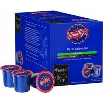 Timothy's Colombian Decaf Coffee Keurig K-Cups 18-Pack