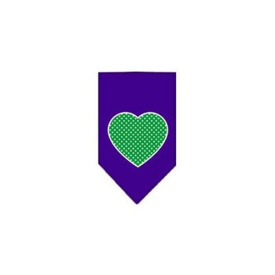 Ahi Green Swiss Dot Heart Screen Print Bandana Purple Small
