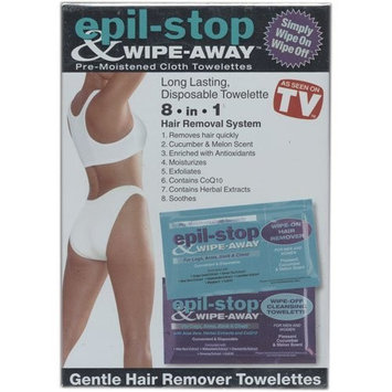 Epil Stop   Wipe Away Epil Stop & Wipe Away, The Safer Faster Way To Hair-Free Skin, Includes: 10 Pre-Moistened Wipe-On Hair Remover, 10 Pre-Moistened Wipe -Off Moisturizer, 2 Pre-Moistened Sensitive Wipe-on, 2 Pre-Moistened Sensitive Wipe-off As Seen On TV