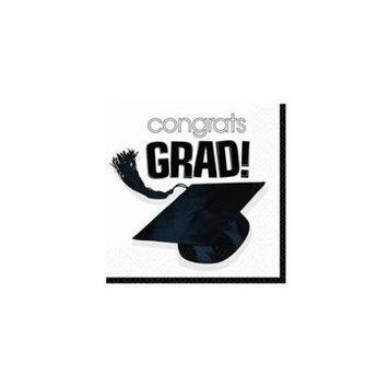 Amscan 202601 Congrats Grad White Graduation Beverage Napkins