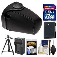 Nikon CF-DC2 Semi-Soft Holster Digital SLR Camera Case for D3200, D5100, D5200, D5300 with 32GB Card + EN-EL14 Battery & Charger + Tripod Kit
