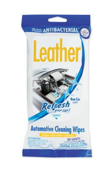 Handstands Refresh Your Car Leather Wipes 20 ct Resealable Pouch- New Car Scent
