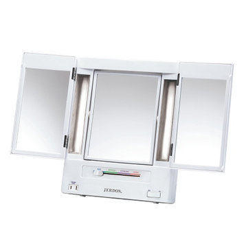 Jerdon Classic Lighted Tri-Fold Mirror with 5X Magnification