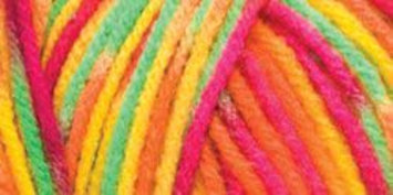 Hrl Red Heart Comfort Yarn-Orange/Lime/Shocking Pink Prints