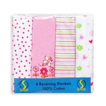 Spasilk RB Z4PA5 4 Pack Receiving Blanket - Pink Garden