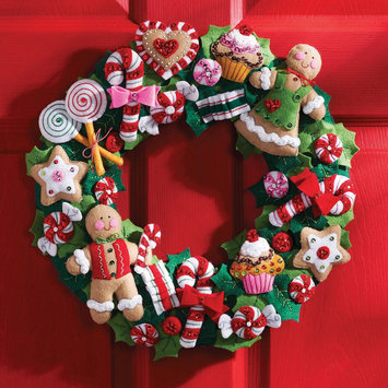 Bucilla Felt Wreath Craft Kit - Cookies and Candy Christmas Applique