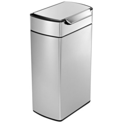 simplehuman Rectangular Touch-Bar Can Fingerprint-Proof Stainless Steel, Brushed, 10.5 gallons, 1 ea