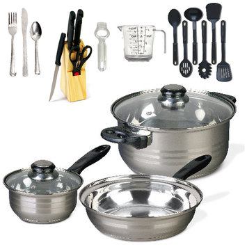 Gibson Overseas Incorporated Gibson Lybra Stainless Steel 32-pc Cookware Combo Set