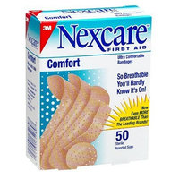 Nexcare Comfort Bandages, Assorted Sizes, 50-Count Boxes (Pack of 12)