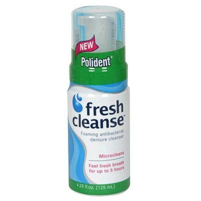Polident Fresh Cleanse Foaming Antibacterial Denture Cleanser, 4.25 Fl oz (125 ml)