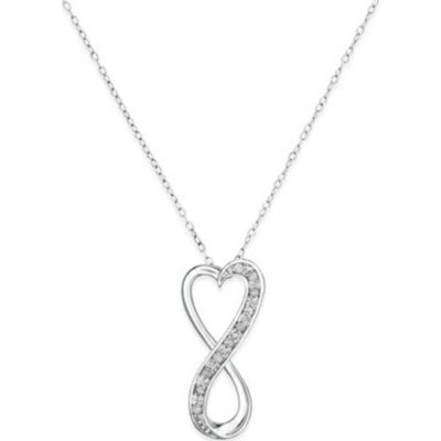 clearance jewelry Diamond Infinity Heart Pendant Necklace in Sterling Silver (1/10 ct. t.w.)
