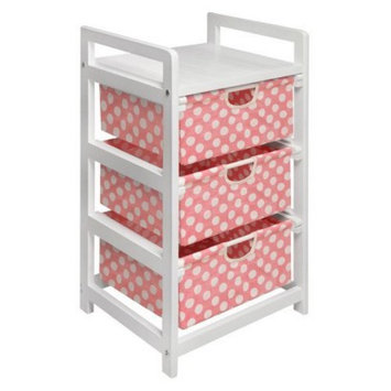 Badger Basket White Three Drawer Hamper/Storage Unit - Pink Polka Dots