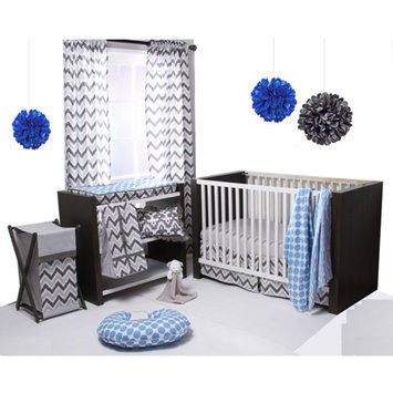 Bacati Ikat 4-Piece Crib Bedding Set, Blue/Grey