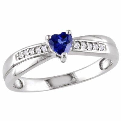 Amour Silver Diamond & Heart Cut Created Sapphire Ring, Silver, White, Blue, 5, 1 ea