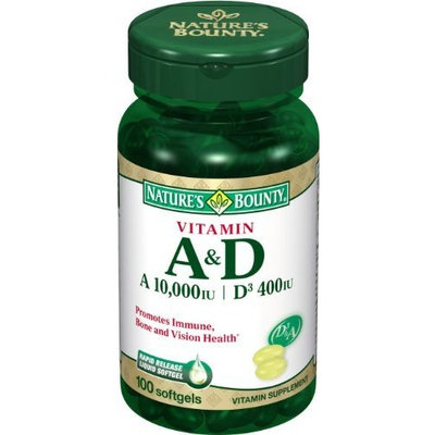 Nature's Bounty Vitamins A and D, 100 Softgels (Pack of 6)