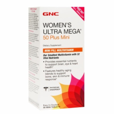 GNC Women's Ultra Mega 50 Plus Mini Pill Multivitamin, Tablets, 90 ea